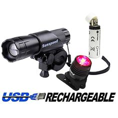 Sunspeed Waterproof USB Rechargeable LED Bike Light Set - LED Bright Headlight…