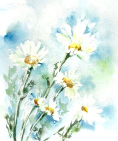 Watercolor Painting Art Print Daisy Flowers by CanotStopPrints