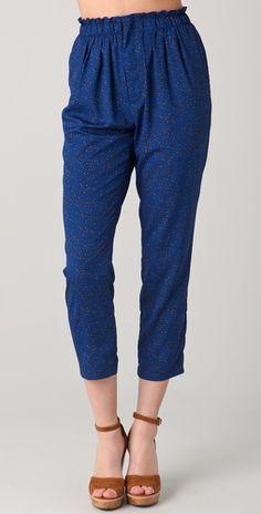 cropped print trousers ++ le mont st. michel