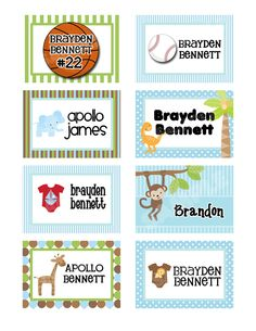 Design Your Own - LAMINATED All Boy Backpack Tag/Diaper Bag Tag/Luggage Tag. $5.00, via Etsy.