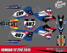 YAMAHA YZ125 YZ250 2015 full graphics kit. More graphics in almaracing.com