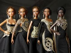 Black & Gold (Tribute to Gianni Versace) Gianni Versace, African Dolls, African American Dolls, Beautiful Barbie Dolls, Vintage Barbie Dolls, Vestidos Versace, Afro, Diva Dolls, Tribute