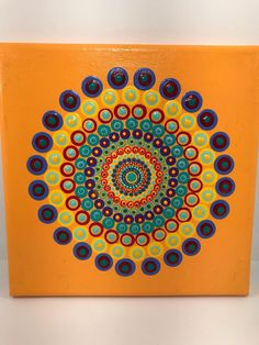 Original Mandala Painting on Canvas Dotilism Dot Painting