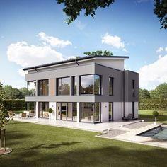 Fassadengestaltung modern pultdach  Eine farbliche stimmige Fassade in Grau. Mehr dazu www.kolorat.de ...