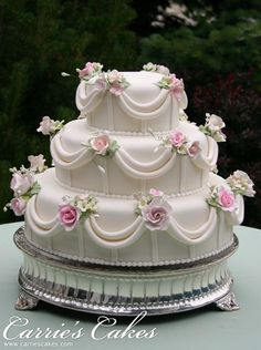 Elegant Pink Rose cake on our silver stand Amazing Wedding Cakes, Elegant Wedding Cakes, Elegant Cakes, Wedding Cake Designs, Amazing Cakes, Wedding Ideas, Gorgeous Cakes, Pretty Cakes, Cute Cakes