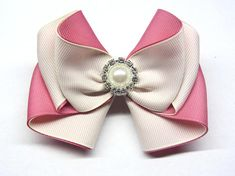 Hair bows for teens champagne bow light pink bow ivory hair