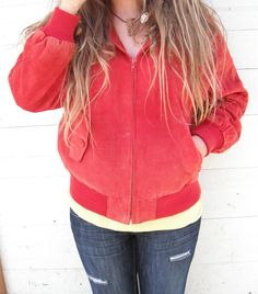 15 OFF SALE Red suede1980s  bomber inspired by ArieleSierraDesigns, $25.99