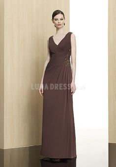 Elegant V Neck A line Sleeveless Brown Mother of the Bride Dress 💟$379.99 from http://www.www.anteenergy.com   #elegant #brown #bridalgown #dress #the #bridal #sleeveless #of #mother #line #bride #wedding #neck #weddingdress #mywedding