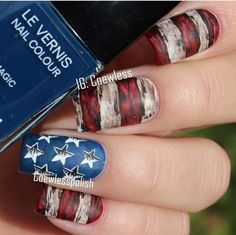 Distressed flag nails Usa Nails, Flag Painting, Flag Decor, Fourth Of July, You Nailed It, Nail Colors, Class Ring, Nail Art, Finger Nails