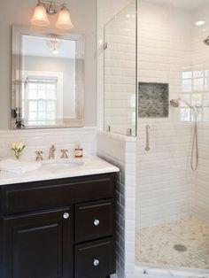 vanity with subway tile   White subway tile, dark vanity with marble top