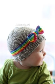 RainBOW Baby Hat Free Knitting Pattern! | littleredwindow.com