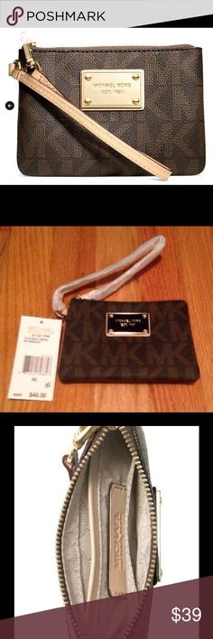 """New listing! New Michael Kors Small Wristlet NEW with tags! 100% authentic!  MK Signature PVC Wristlet strap Top zip closure Gold-tone hardware; monogram print exterior; logo plaque at front Interior features 3 slip pockets 5"""" W x 4-1/4"""" H x 1"""" D Michael Kors Bags Clutches & Wristlets"""