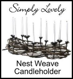 Sitting atop my humble dining room table is the charming Nest Weave Candleholder.  I so prefer table centerpieces that improve when dinner is served.  The Nest Weave Candleholder with its ten candles lit wants to be surrounded by your guests and food displays.  How much more can you expect from one accessory? #nest_weave_candleholder, #tabletop_candleholder_display, #tabletop_display, #tabletop_arrangement
