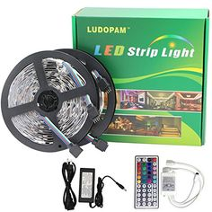 LudoPam LED Strip Lighting SMD 5050 RGB LEDs Strips with IR Remote Controller and DC Power Supply Adapter -- Check out this great image : home diy lighting Led Strip, Clever Diy, Strip Lighting, Remote, Christmas Decorations, Room Decor, My Favorite Things, Check, Image Link