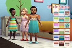 I've finally finished the mesh I was working on ! So, I propose you this summer dress for toddler, in 18 swatches. It's a new mesh (frankeinmeshing) made my be. Base game compatible. Recoloration...