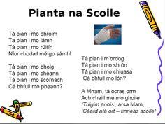 tinneas - Cuardach Google Irish Poems, Gaelic Words, Irish Language, 5th Class, Learning Support, Classroom Displays, Kids Education, School Stuff, School Ideas