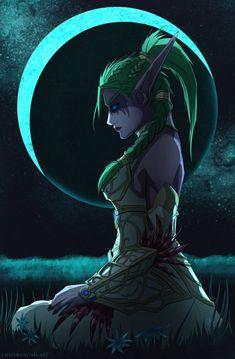 Night Warrior Tyrande by ChromaNoxis on DeviantArt - Pubg, Fortnite and Hearthstone Art Warcraft, World Of Warcraft Game, World Of Warcraft Characters, Dnd Characters, Fantasy Characters, Female Characters, Dark Fantasy Art, Fantasy Girl, Final Fantasy