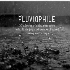 I love rain. Well, most rain. Not monsoon-y rain, if I actually have to go somewhere. Or flood-type rain. Flood-type rain is generally bad. The Words, Cool Words, Greek Words, Unusual Words, Strange Words, Interesting Words, Word Of The Day, One Word Art, Word Porn