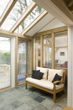 Small glazed oak sun room in Tin house on Dartmoor: