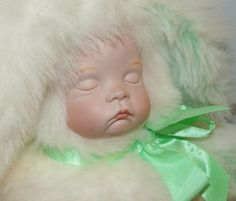 Artisan Sugar Britches Bunny Baby Jointed - 1265 by WildroseHeaven on Etsy Doll Shop, Green Accents, Antique Dolls, Artisan, Bunny, Sugar, Cute, Handmade, Crafts