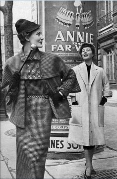 1950s Model on left in black and yellow houndstooth dress and jacket by Jeanne Lanvin, Bettina is wearing a 78 ecru shantung coat over black dress by Christian Dior designer couture vintage fashion photo print ad 50s