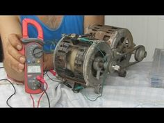 Generador Electrico Con un Motor quemado-- Electric generator with washing machine engine Burne - YouTube