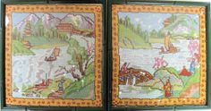 PAIR of Asian Framed Needlepoint Pictures  Lovely by Esoterique50, $48.00