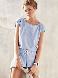 8e8aa51c3ea Marled Keyhole Romper French Terry Victoria Secret Outfits