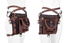 Restyle Gothic Steampunk Holster Multi Way Waist Pack Shoulder Bag Coin Purse Leg Bag (Brown) Leather Cell Phone Cases, Unique Bags, Gothic Steampunk, Waist Pack, Vegan Leather, Coin Purse, Shoulder Bag, Purses, Accessories