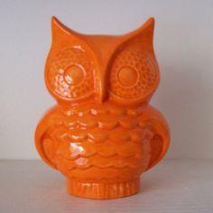 Ceramic Owl Piggy Bank Vintage Design Orange by fruitflypie. , via etsy. @carlasartori or he can count his money!!