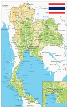 Physical map of Thailand showing names of capital city, towns, states, provinces and boundaries with neighbouring countries. Teaching Geography, World Geography, Cherry Blossom Decor, Thai Travel, Funny Cartoon Pictures, Thailand Photos, Vientiane, Travel Maps, Vacation Trips