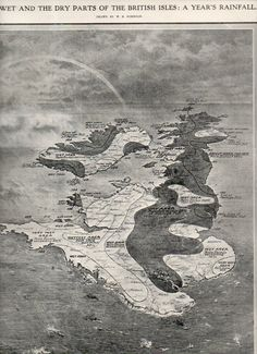 RAINOGRAPHY: a Map of Rain in the British Isles, 1911 -  'The Wet and the Dry Parts of the British Isles: a Year's Rainfall' appeared in the Illustrated London News on 28 January 1911 (a lovely and scarce example of a meteorological graphical display of quantitative data rolled into an oblique view).