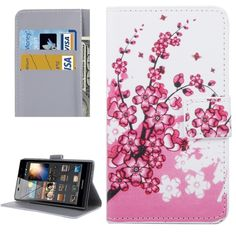 [$2.19] Huawei P9 Plum Blossom Pattern Leather Case with Holder & Card Slots & Wallet