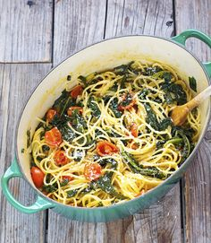 The Iron You: One-Pot Spaghetti with Kale and Cherry Tomatoes