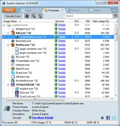 System Explorer is free, awards winning software for exploration and management of System Internals. This small software includes many useful tools which help you Keep Your System Under Control. With System Explorer You get also fast access to File Database which help you to determine unwanted processes or threats. System Explorer is translated into 21 languages and is available for download in installer and portable version.
