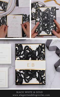 classic black, white and gold laser cut wedding invites #ewi #weddinginvitations