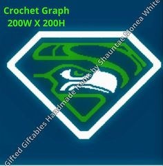 Sports Fans of the Seattle Seahawks, here's a little something for you. This will make a lovely blanket to cuddle up with while your watching the game. Stitch size for this graph (200W X 200H). Thanks for checking my items and God bless. Click on link below for more details:) https://www.etsy.com/listing/219572698/seattle-seahawks-crochet-graph-for?ref=listing-shop-header-0