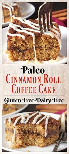 Paleo vegan cinnamon roll coffee cake #healthyfood #easyrecipes #easybaking