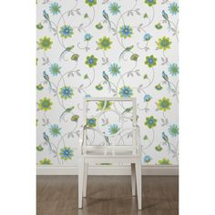 Fine Decor Eden Bird Wallpaper White / Green / Blue