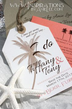 save the date luggage tags by InspirationsbyAmieLe on Etsy, $50.00