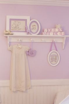 Soft lavender baby nursery with white accents and shabby chic decor