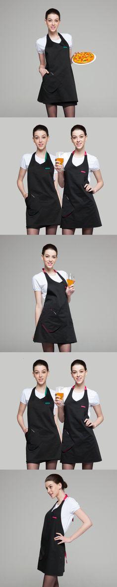 Fashion Restaurant Kitchen tea cafe shop waiter uniform black overalls work wear Home Furnishing Waist Aprons for woman