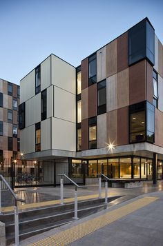 Image 5 of 28 from gallery of Carlaw Park Student Accommodation / Warren and Mahoney. Photograph by Simon Devitt University Architecture, Facade Architecture, Residential Architecture, Contemporary Architecture, Building Exterior, Building Facade, Building Design, Facade Design, Exterior Design