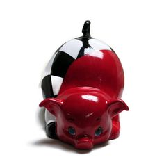 Hey, I found this really awesome Etsy listing at https://www.etsy.com/listing/206489241/ceramic-piggy-bank-racing-red-checkered