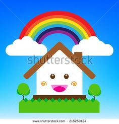 Smile cartoon house vector illustration, cute happiness building - stock vector