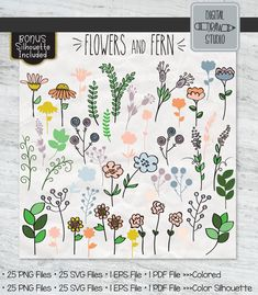 Wildflower Drawing, Flower Outline, Garden Illustration, Plant Vector, Outline Drawings, Ferns, Wild Flowers, Hand Drawn, How To Draw Hands