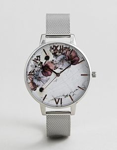 Olivia Burton Marble Floral Mesh Watch In Silver at ASOS. Fancy Watches, Trendy Watches, Cute Watches, Silver Watches, Olivia Burton, Gold Apple Watch, Hand Jewelry, Jewellery, Hand Watch