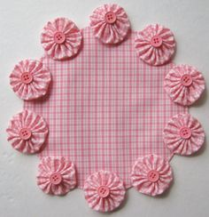 "Pink White Gingham Table Centerpiece Shabby Yet Chic YoYo Candle Mat 8"" Doily #Handmade"