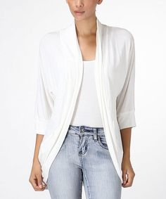 This White Three-Quarter Sleeve Open Cardigan is perfect! #zulilyfinds