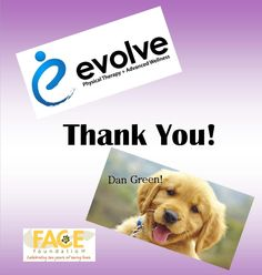 Thank you to our friends and supporters Dan Green and Evolve Physical Therapy + Advanced Wellness for their sponsorship of our 5th Invitational Golf Tournament. Your generosity helps us save lives!  For more information about our upcoming tournament, check out our event page: https://face4pets.org/5th-invitational-golf-tournament/